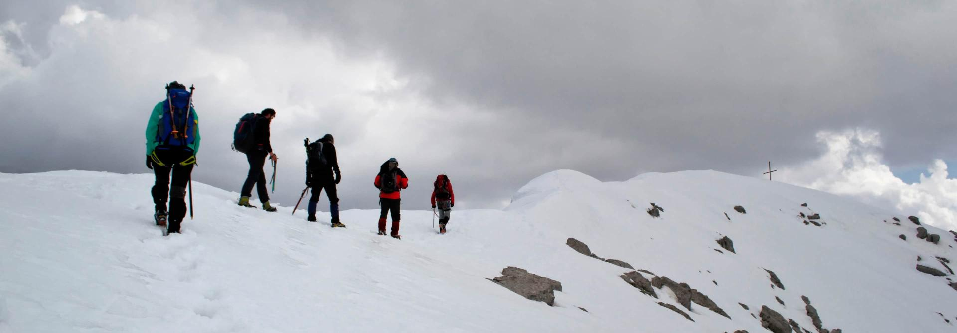 Balkans Winter Challenge mountain trekkers
