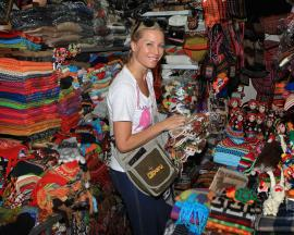 buying from a market in Peru