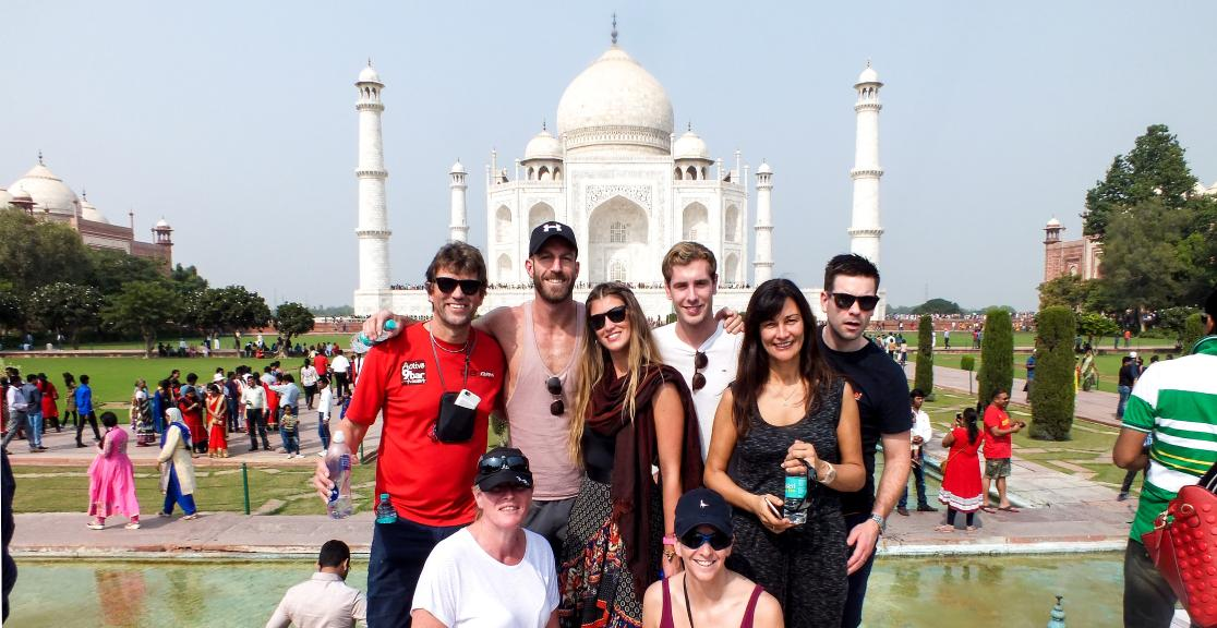 India cycle challengers in front of the Taj Mahal India