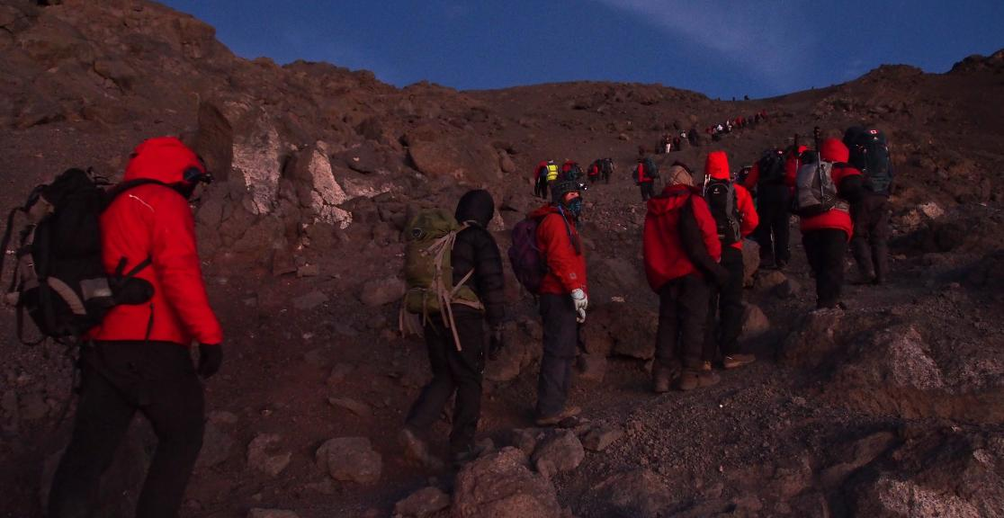 Kilimanjaro Mountain Charity Trek in Tanzania in Africa. Highest Freestanding Mountain in the world. Summit night.