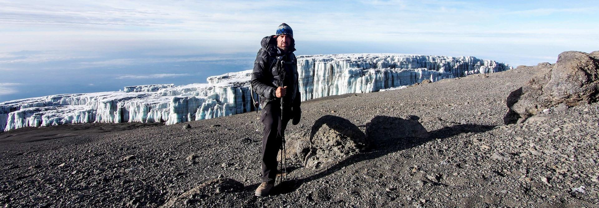 Overlooking a glacier on Mt. Kilimanjaro