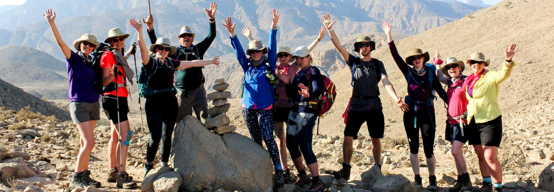 Successful Oman mountain trek participants