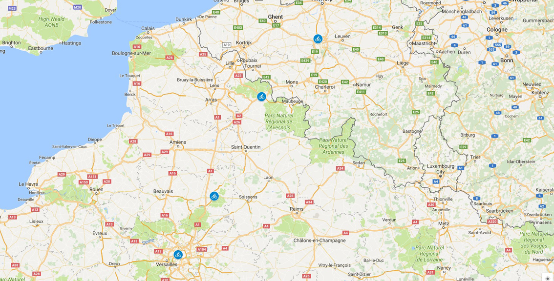 Paris to Brussels map