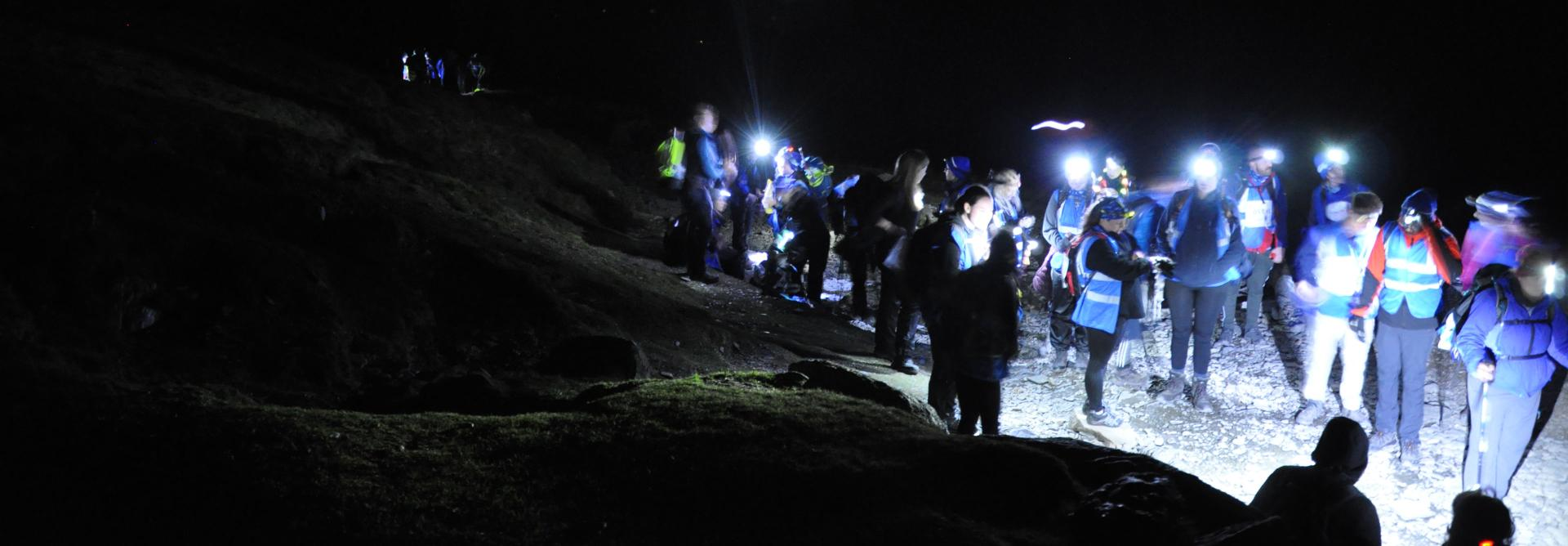 Snowdon trekkers at night