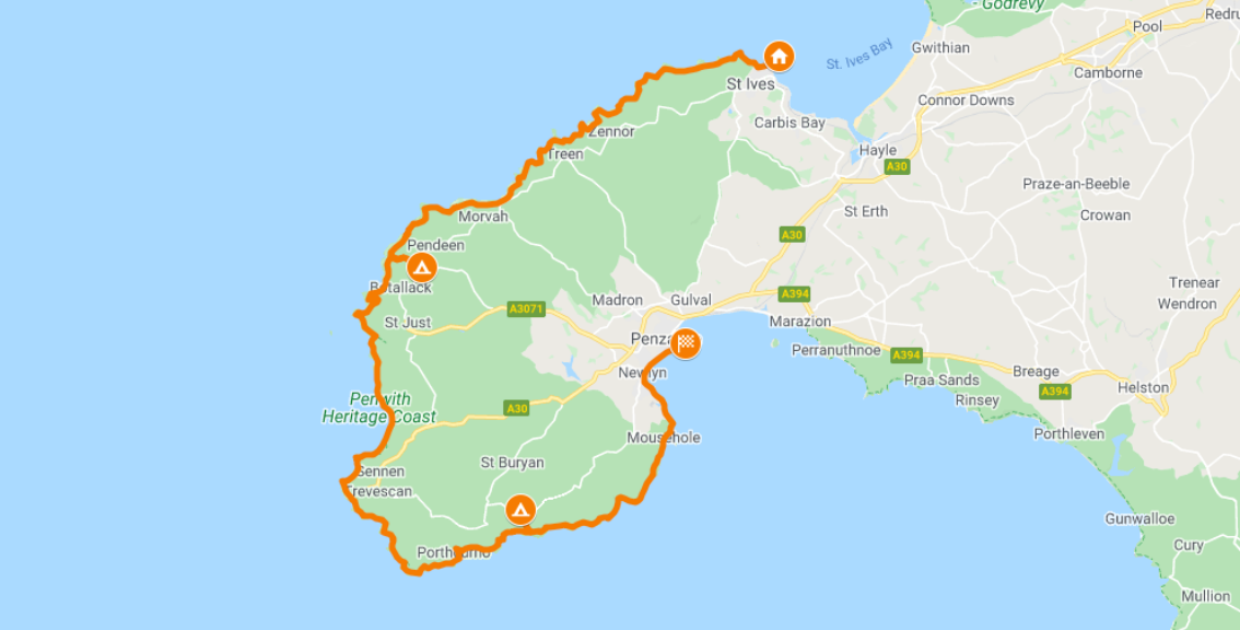 South West Coastal Footpath Map