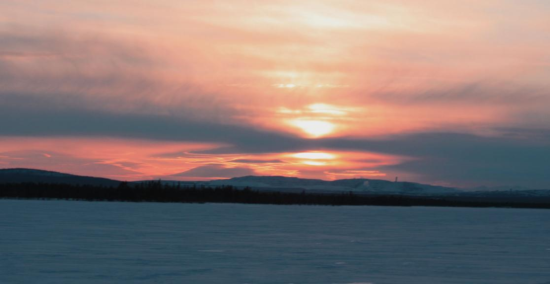Sunset on the Dog Sledding Charity Challenge