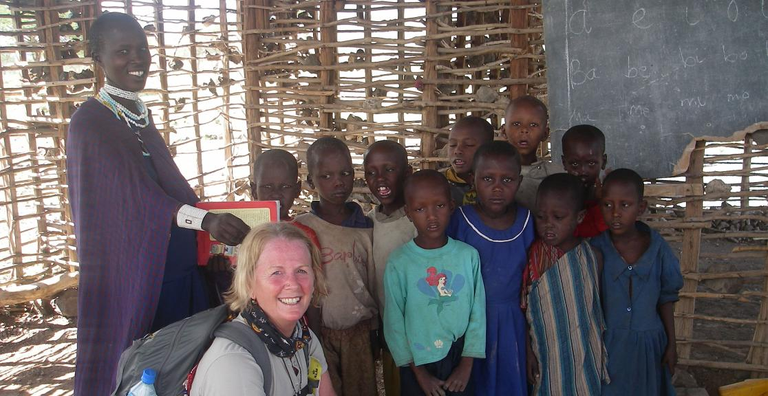 Trekkers visit a local Maasai school